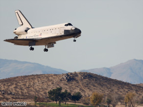 Shuttle Endeavour lands at California air base